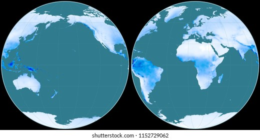 World map in the Apian projection centered on 170 West longitude. Mean annual precipitation map - raw composite of raster with graticule