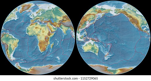 World map in the Apian projection centered on 11 East longitude. Topographic relief map - composite of raster with graticule and tectonic plates borders