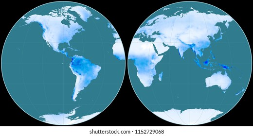 World map in the Apian projection centered on 90 West longitude. Mean annual precipitation map - raw composite of raster with graticule