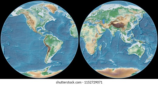 World map in the Apian projection centered on 90 West longitude. Colored shader, elevation map - raw composite of raster with graticule