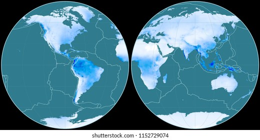 World map in the Apian projection centered on 90 West longitude. Mean annual precipitation map - composite of raster with graticule and tectonic plates borders