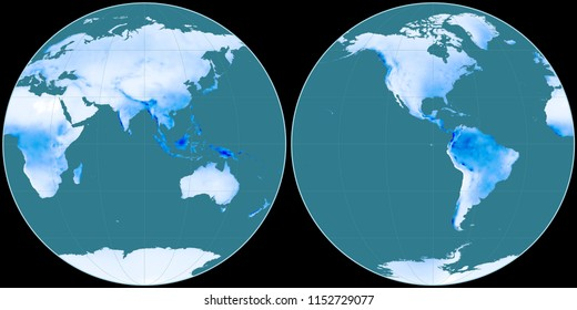 World map in the Apian projection centered on 90 East longitude. Mean annual precipitation map - raw composite of raster with graticule
