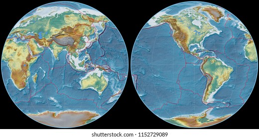 World map in the Apian projection centered on 90 East longitude. Topographic relief map - composite of raster with graticule and tectonic plates borders