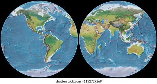 World map in the Apian projection centered on 90 West longitude. Main physiographic landscape features - composite of raster with graticule and tectonic plates borders