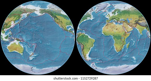 World map in the Apian projection centered on 170 West longitude. Main physiographic landscape features - composite of raster with graticule and tectonic plates borders