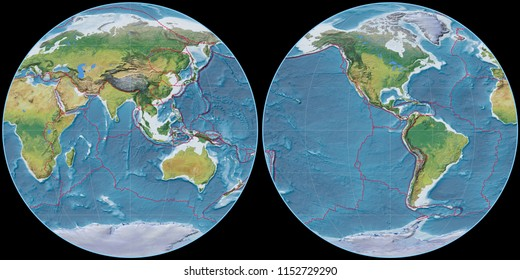 World map in the Apian projection centered on 90 East longitude. Main physiographic landscape features - composite of raster with graticule and tectonic plates borders