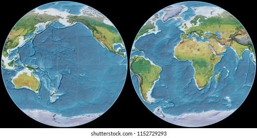 World map in the Apian projection centered on 170 West longitude. Main physiographic landscape features - raw composite of raster with graticule