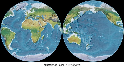 World map in the Apian projection centered on 11 East longitude. Main physiographic landscape features - raw composite of raster with graticule