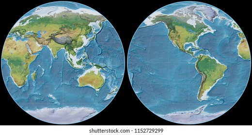 World map in the Apian projection centered on 90 East longitude. Main physiographic landscape features - raw composite of raster with graticule