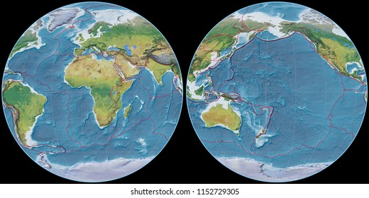 World map in the Apian projection centered on 11 East longitude. Main physiographic landscape features - composite of raster with graticule and tectonic plates borders