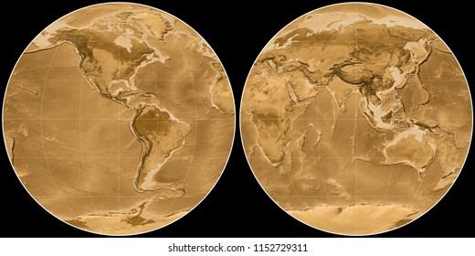 World map in the Apian projection centered on 90 West longitude. Sepia tinted elevation map - raw composite of raster with graticule