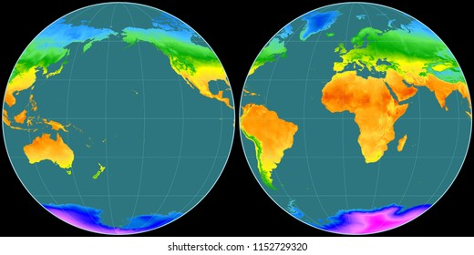 World map in the Apian projection centered on 170 West longitude. Mean annual temperature map - raw composite of raster with graticule