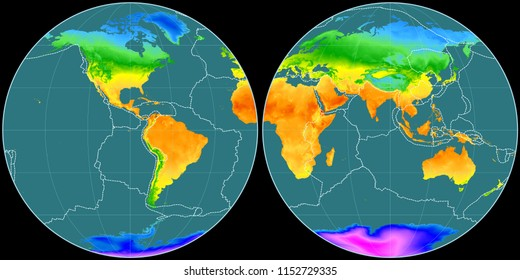 World map in the Apian projection centered on 90 West longitude. Mean annual temperature map - composite of raster with graticule and tectonic plates borders