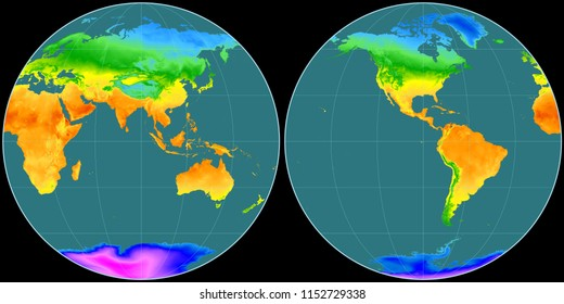 World map in the Apian projection centered on 90 East longitude. Mean annual temperature map - raw composite of raster with graticule