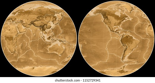 World map in the Apian projection centered on 90 East longitude. Sepia tinted elevation map - composite of raster with graticule and tectonic plates borders