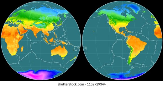 World map in the Apian projection centered on 90 East longitude. Mean annual temperature map - composite of raster with graticule and tectonic plates borders