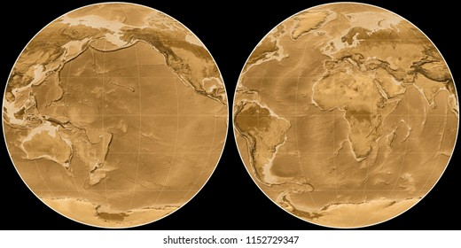 World map in the Apian projection centered on 170 West longitude. Sepia tinted elevation map - raw composite of raster with graticule