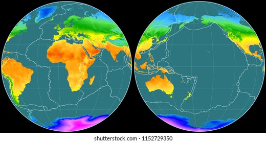 World map in the Apian projection centered on 11 East longitude. Mean annual temperature map - composite of raster with graticule and tectonic plates borders