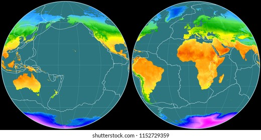 World map in the Apian projection centered on 170 West longitude. Mean annual temperature map - composite of raster with graticule and tectonic plates borders