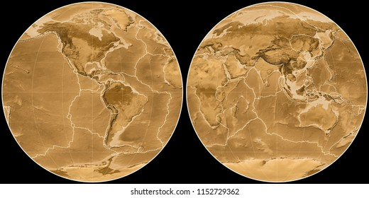 World map in the Apian projection centered on 90 West longitude. Sepia tinted elevation map - composite of raster with graticule and tectonic plates borders