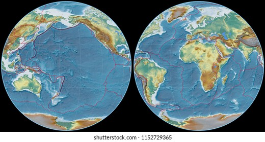 World map in the Apian projection centered on 170 West longitude. Topographic relief map - composite of raster with graticule and tectonic plates borders