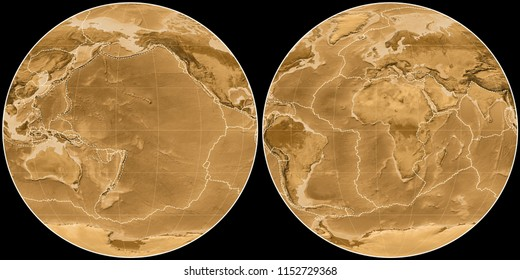 World map in the Apian projection centered on 170 West longitude. Sepia tinted elevation map - composite of raster with graticule and tectonic plates borders
