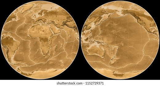 World map in the Apian projection centered on 11 East longitude. Sepia tinted elevation map - composite of raster with graticule and tectonic plates borders