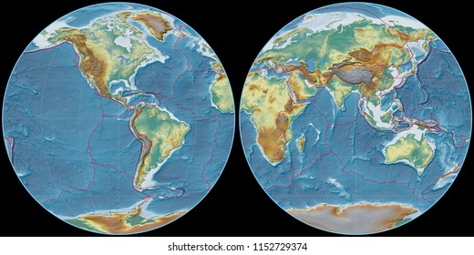 World map in the Apian projection centered on 90 West longitude. Topographic relief map - composite of raster with graticule and tectonic plates borders