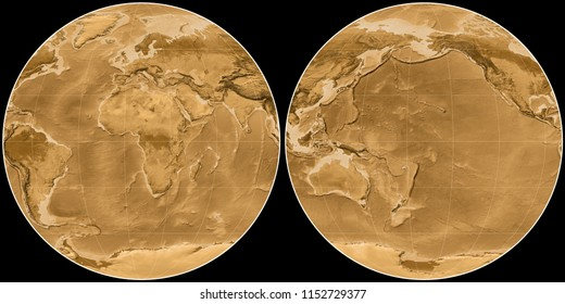 World map in the Apian projection centered on 11 East longitude. Sepia tinted elevation map - raw composite of raster with graticule