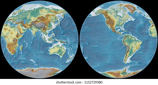 World map in the Apian projection centered on 90 East longitude. Topographic relief map - raw composite of raster with graticule