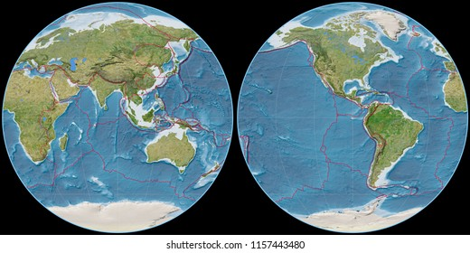 World map in the Apian projection centered on 90 East longitude. Satellite imagery B - composite of raster with graticule and tectonic plates borders. 3D illustration