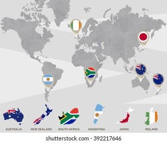 World Map Iran Usa France Uk Stock Vector Royalty Free 267875171