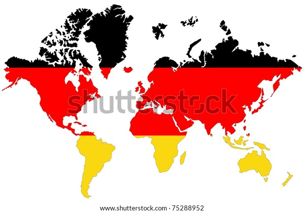 World Map Background Germany Flag Stockillustration 75288952