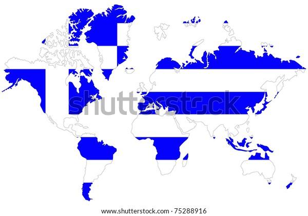 World Map Background Greece Flag Stock Illustration 75288916