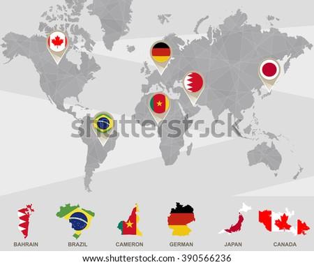 World Map Bahrain Brazil Cameron German Stockillustration 390566236 ...