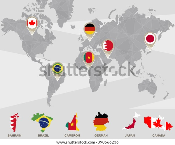 World Map Bahrain Brazil Cameron German Stockillustration ...