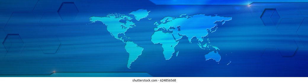 World Map Banner 6000 X 1500 Px Horizontal Stock Illustration