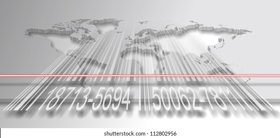 A world map with a barcode and a red laser scanning it / Barcode and world