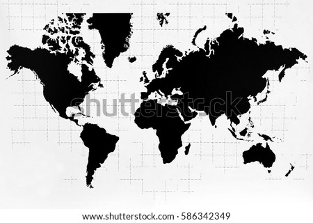 World Map Black White Color Stockillustration 586342349 – Shutterstock