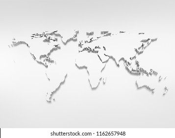 World map blue silver 3d illustration