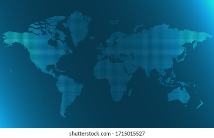 World map of blue square dots, 3d rendering