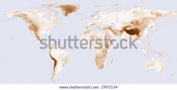 World map with brown shaded elevation