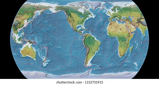 World map in the Canters Pseudocylindric projection centered on 90 West longitude. Main physiographic landscape features - composite of raster with graticule and tectonic plates borders