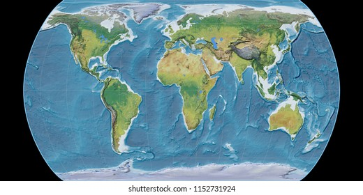 World map in the Canters Pseudocylindric projection centered on 11 East longitude. Main physiographic landscape features - raw composite of raster with graticule