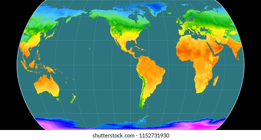 World map in the Canters Pseudocylindric projection centered on 90 West longitude. Mean annual temperature map - raw composite of raster with graticule