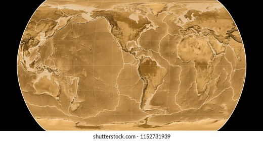 World map in the Canters Pseudocylindric projection centered on 90 West longitude. Sepia tinted elevation map - composite of raster with graticule and tectonic plates borders