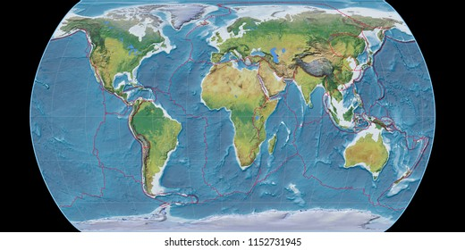 World map in the Canters Pseudocylindric projection centered on 11 East longitude. Main physiographic landscape features - composite of raster with graticule and tectonic plates borders