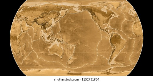 World map in the Canters Pseudocylindric projection centered on 170 West longitude. Sepia tinted elevation map - composite of raster with graticule and tectonic plates borders