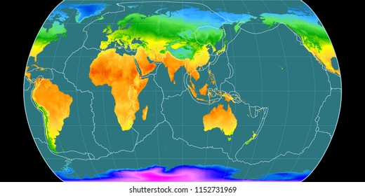 World map in the Canters Pseudocylindric projection centered on 90 East longitude. Mean annual temperature map - composite of raster with graticule and tectonic plates borders