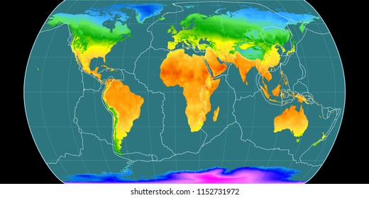 World map in the Canters Pseudocylindric projection centered on 11 East longitude. Mean annual temperature map - composite of raster with graticule and tectonic plates borders